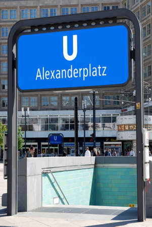 Entrance to the subway station at Alexanderplatz in Berlin - Germany. Redactioneel