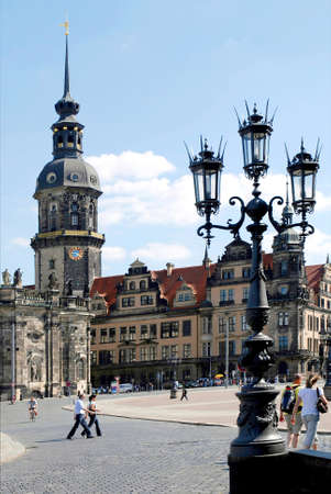 View from the Theater Square on the reconstructed Saxon Royal Palace in Dresden with the Hausmannsturm - Germany.