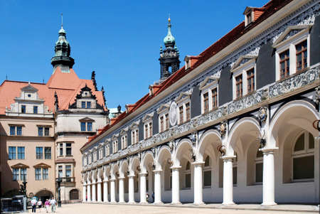 View of the Stable court in the Saxon Royal Palace of Dresden - Germany.