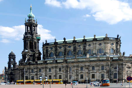 View from the Theater Square on the Cathedral of the Holy Trinity in Dresden with the Hausmannsturm - Germany. Redactioneel