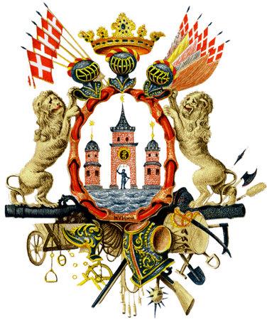 Coat of arms of the Danish capital city Copenhagen - Denmark.