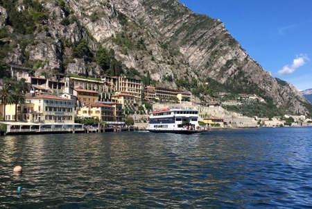 Passenger liner on the Lake Garda at Limone sul Garda - Italy. Standard-Bild - 167047068