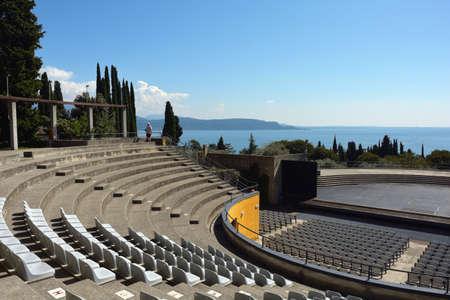 Amphitheater in the Museum complex of Vittoriale degli italiani in Gardone Riviera at the lake Garda - Italy. Standard-Bild - 167047075