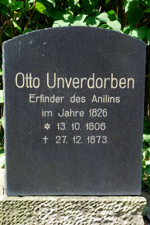 Grave of the aniline inventor Otto Unverdorben in Dahme in the Mark Brandenburg - Germany. Standard-Bild - 167252112