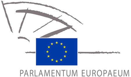 Logo of the European Parliament based in Strasbourg. - France.