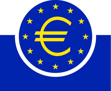 Logo of the European Central Bank ECB with seat in Frankfurt am Main - Germany ..