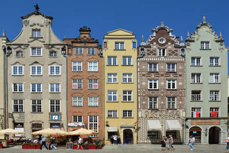 Historical buildings on the Long market in Gdansk - Poland. Standard-Bild - 167333261
