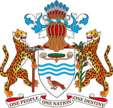 National coat of arms of the Republic of Guyana. Standard-Bild