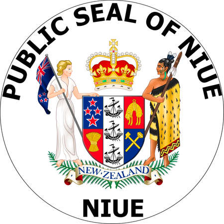 Seal of the island Niue in the South Pacific Ocean.