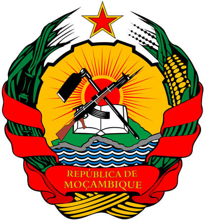 National coat of arms of the Republic of Mozambique.