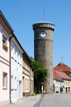 Bird tower in Dahme / Mark as part of the former city wall of the Brandenburg town - Germany. Editorial