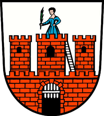 Coat of arms of the city of Dahme of the Mark Brandenburg in the administrative district Teltow-Flaeming - Germany.