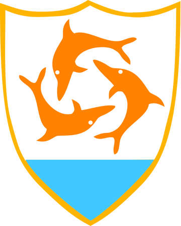 Coat of arms of the British overseas territory Anguilla. Editorial