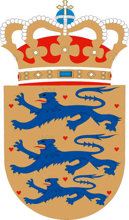 National coat of arms of the Kingdom of Denmark.