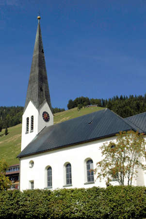 Church of Balderschwang in Oberallgaeu at 1044 meters above sea level, is the highest and smallest municipality in Bavaria - Germany.