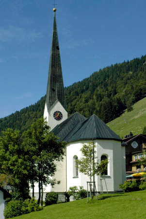 Church off Balderschwang in Oberallgaeu at 1044 meters above sea level, is the highest and smallest municipality in Bavaria - Germany.