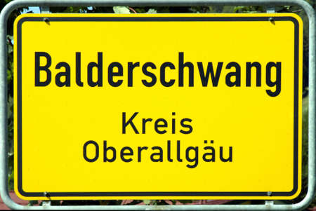 Place name sign of Balderschwang in Oberallgaeu at 1044 meters above sea level, is the highest and smallest municipality in Bavaria - Germany.