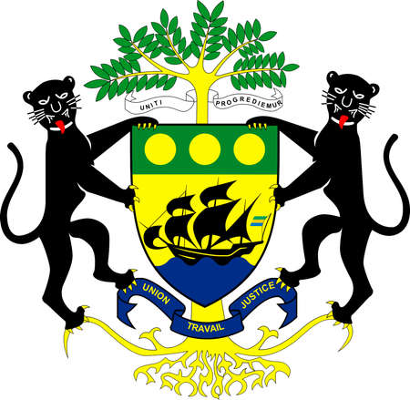 National coat of arms of the Gabonese Republic.