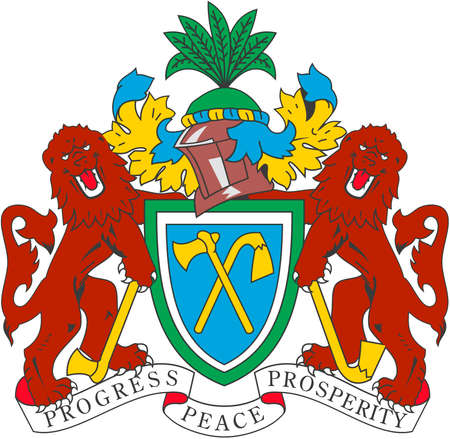 National coat of arms of the Republic of the Gambia.