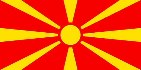 National flag of the Republic of North Macedonia.