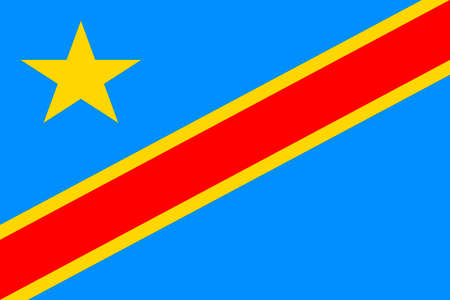 National flag of the Democratic Republic of the Congo. Stock Photo