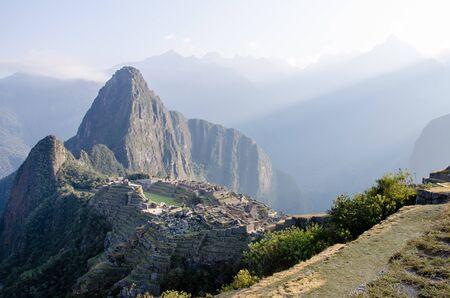 Lost Incan city Macchu Picchu from afar