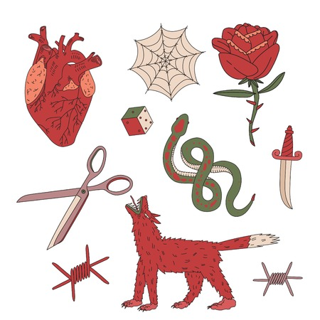 the nineties: A set cartoon patch heart pin collection. Ready sketch for tattoo Illustration