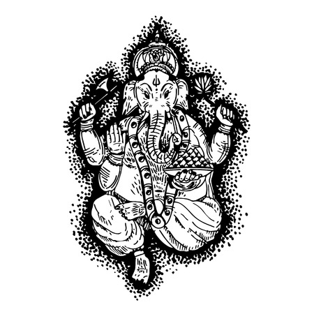 Hand drawn illustration of Lord Ganesha in paint style.