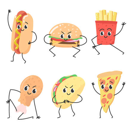 Fast food hand drawn vector illustration. Colorful emoticon face flat design set. Funny cartoon elements vector collection fast food characters