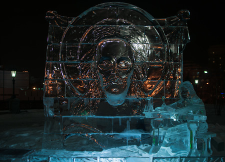 crist: Ice sculptures exhibition in Ekaterinburg, Church on the Blood, Crist face