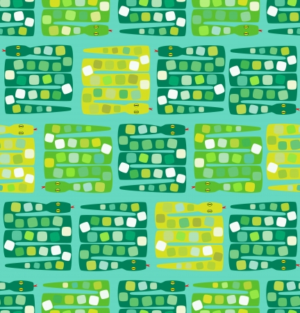 Pattern with green and yellow snakes Illustration