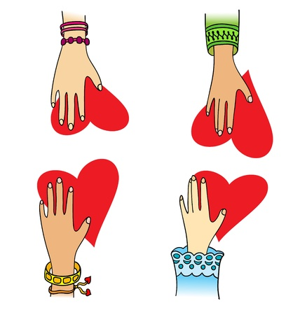 Four hands with little red  Vector
