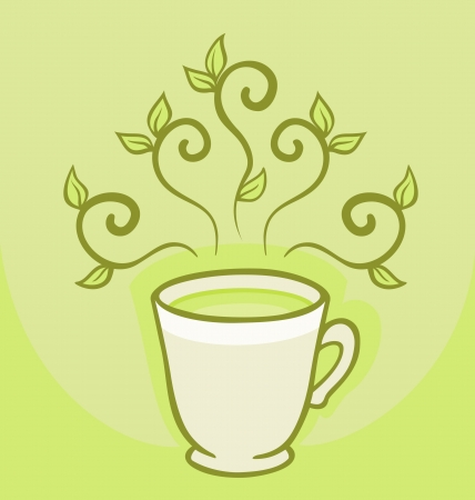 Cup of green tea  Vector illustration