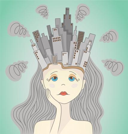 contaminacion acustica: Ciudad contaminada de ilustración vectorial mujeres cabeza de ciudad contaminada en la imagen la mujer cabeza de ciudad gris sucio que causa un dolor de cabeza