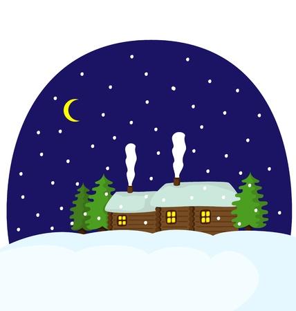 Winter landscape Village at night