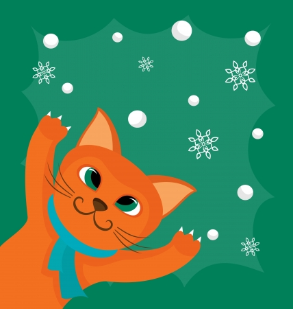 Vector illustration with red cat and snowballs