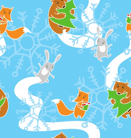 Pattern with happy new year s animals  fox, hare, bear Vector