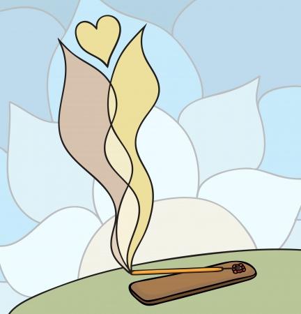 incense: Vector illustration of burning lovely oriental incense