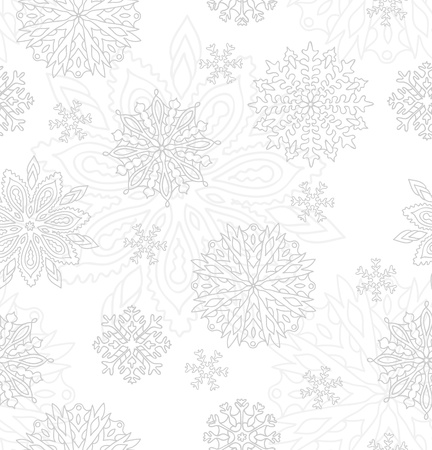 Soft gray vector pattern with decorative snowflakes