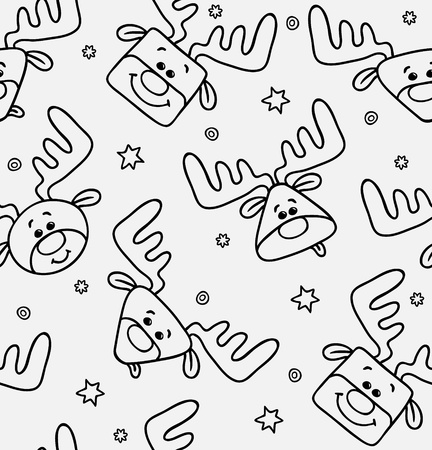 black and white pattern with funny deers