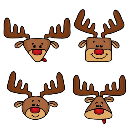 red nosed reindeer: illustration of cute happy deers