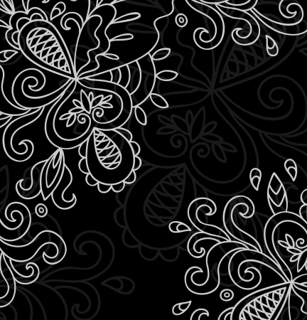 Invitation Card On Black Background With Lace White Ornament  Template Frame Design For Card Stock Vector - 16844313