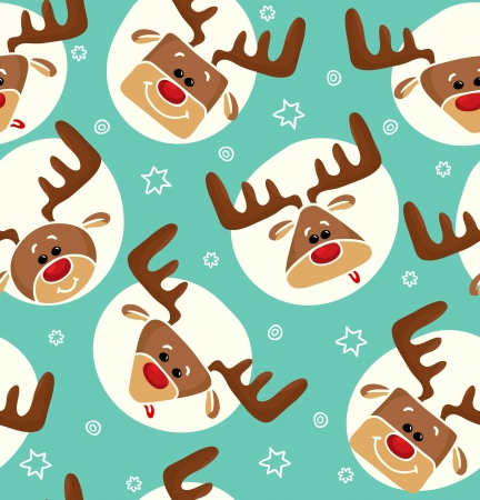 Christmas cheerful pattern with deers and stars