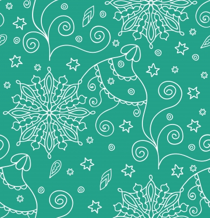Green christmas seamless pattern with snowflakes  Seamless pattern can be used for wallpaper, pattern fills, web page background,surface textures    Vector
