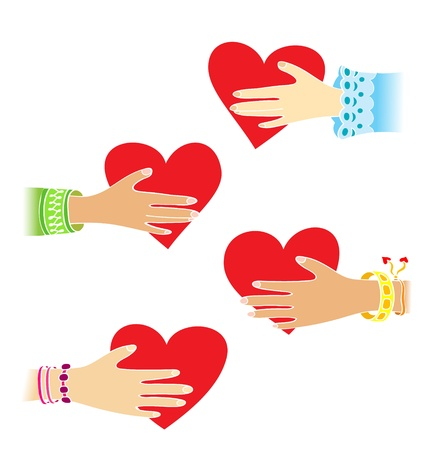 Four hands with little hearts  Vector