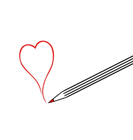 Vector illustration of heart shaped symbol formed by a red pencil Illustration