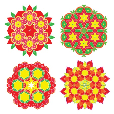set with four colorful rangoli  Vector