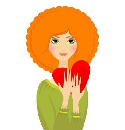 portrait of red hair woman with heart in her hands