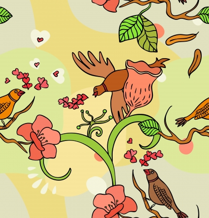 Seamless texture with flowers and birds  Endless floral pattern  Vector