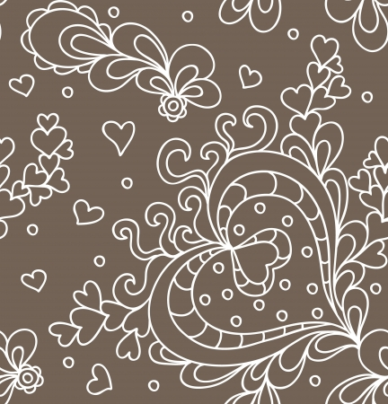 Seamless abstract hand-drawn pattern with hearts  Seamless pattern can be used for wallpaper, pattern fills, web page background,surface textures  Vector